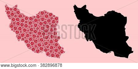 Vector Covid-2019 Virus Mosaic And Solid Map Of Iran. Map Of Iran Vector Mosaic For Lockdown Campaig