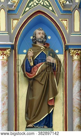 LUKA, CROATIA - SEPTEMBER 16, 2012: St. Peter's statue on the main altar at St. Roch's Church in Luka, Croatia