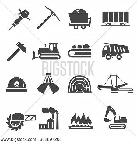 Coal Industry, Mine Bold Black Silhouette Icons Set Isolated On White. Excavator, Hammer, Pickaxe.