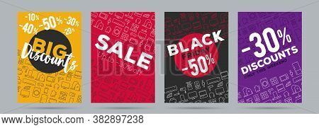 Set Of Promo Posters For Electronics Shop, Black Friday Sale With Discounts On Home, Kitchen And Sma