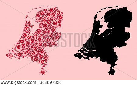 Vector Sars Virus Mosaic And Solid Map Of Netherlands. Map Of Netherlands Vector Mosaic For Quaranti