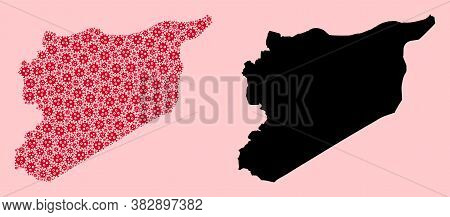 Vector Virus Mosaic And Solid Map Of Syria. Map Of Syria Vector Mosaic For Isolation Campaigns And P