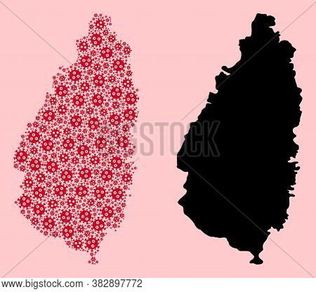 Vector Pandemic Virus Mosaic And Solid Map Of Saint Lucia Island. Map Of Saint Lucia Island Vector M