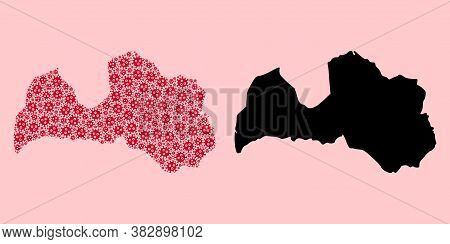 Vector Covid-2019 Virus Mosaic And Solid Map Of Latvia. Map Of Latvia Vector Mosaic For Doctor Campa