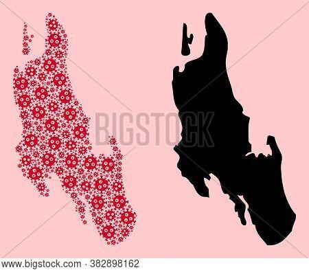 Vector Viral Mosaic And Solid Map Of Zanzibar Island. Map Of Zanzibar Island Vector Mosaic For Isola