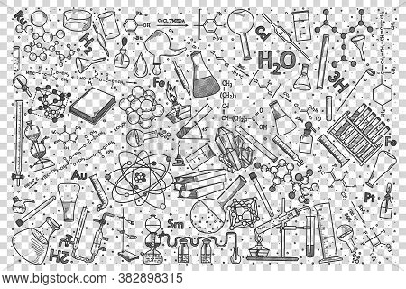 Chemistry Doodle Set. Collection Of Hand Drawn Sketches Templates Drawing Patterns Of Chemical Eleme