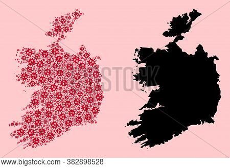 Vector Pandemic Virus Mosaic And Solid Map Of Ireland Republic. Map Of Ireland Republic Vector Mosai
