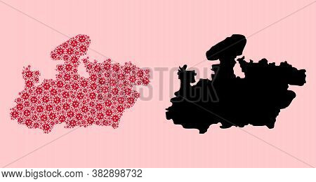 Vector Pandemic Virus Mosaic And Solid Map Of Madhya Pradesh State. Map Of Madhya Pradesh State Vect