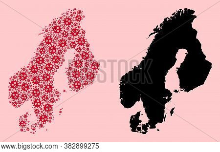 Vector Covid-2019 Virus Mosaic And Solid Map Of Scandinavia. Map Of Scandinavia Vector Mosaic For Do