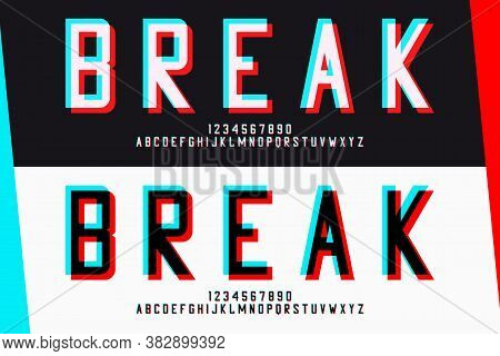 Glitch San-serif Letters And Numbers. Glitched Alphabet Design. Font With Distortion And Blue-red Gl