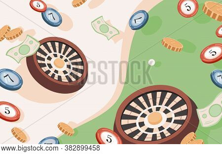 Casino And Gambling Vector Flat Illustration. Gambling Roulette, Golden Coins, Paper Money, And Poke
