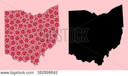 Vector Viral Mosaic And Solid Map Of Ohio State. Map Of Ohio State Vector Mosaic For Hospital Campai