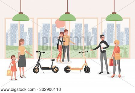 Happy Smiling People In Electric Scooters Shop Vector Flat Illustration. Men, Women, And Children Ch