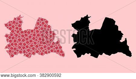 Vector Sars Virus Mosaic And Solid Map Of Utrecht Province. Map Of Utrecht Province Vector Mosaic Fo