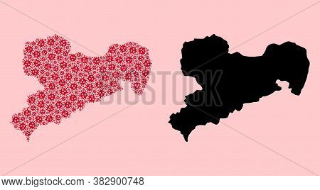 Vector Flu Virus Mosaic And Solid Map Of Saxony State. Map Of Saxony State Vector Mosaic For Hospita