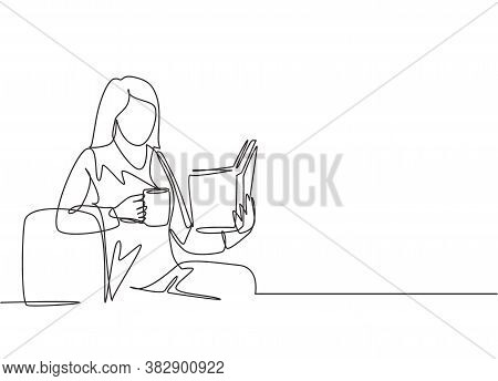 One Continuous Line Drawing Of Young Happy Female Office Worker Leaning On Ottoman Sofa While Readin