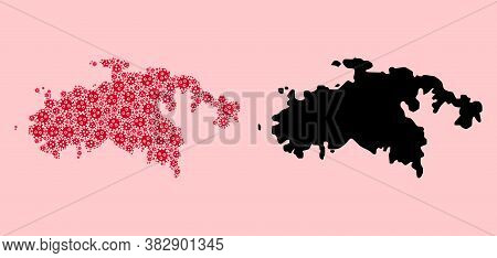 Vector Pandemic Virus Mosaic And Solid Map Of Saint John Island. Map Of Saint John Island Vector Mos
