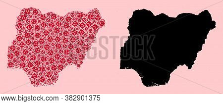 Vector Pandemic Virus Mosaic And Solid Map Of Nigeria. Map Of Nigeria Vector Mosaic For Doctor Campa