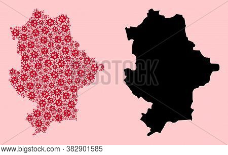 Vector Virus Mosaic And Solid Map Of Donetsk Republic. Map Of Donetsk Republic Vector Mosaic For Loc