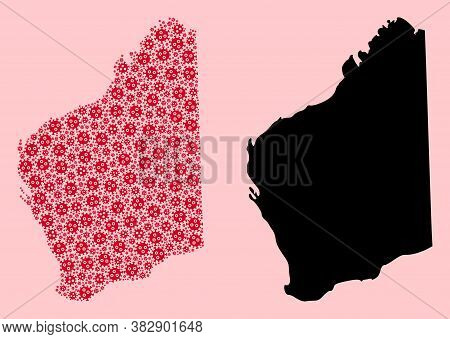 Vector Pandemic Virus Mosaic And Solid Map Of Western Australia. Map Of Western Australia Vector Mos