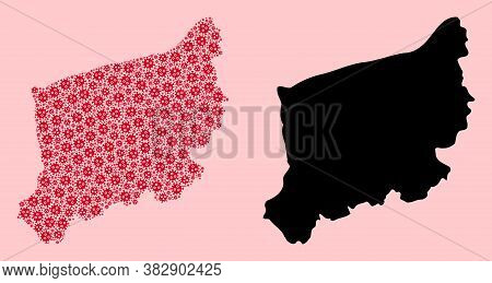 Vector Flu Virus Mosaic And Solid Map Of West Pomerania Province. Map Of West Pomerania Province Vec