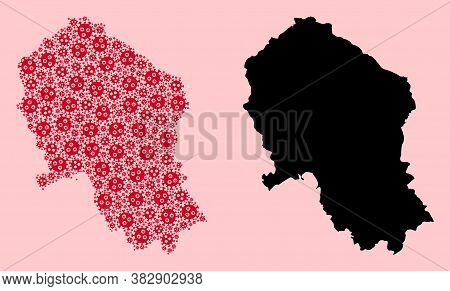 Vector Pandemic Virus Mosaic And Solid Map Of Cordoba Spanish Province. Map Of Cordoba Spanish Provi