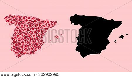 Vector Flu Virus Mosaic And Solid Map Of Spain. Map Of Spain Vector Mosaic For Quarantine Campaigns