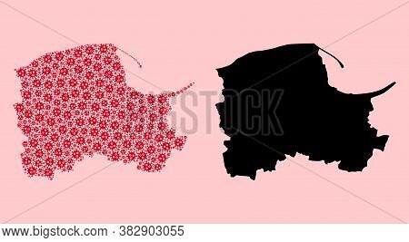 Vector Viral Mosaic And Solid Map Of Pomerania Province. Map Of Pomerania Province Vector Mosaic For