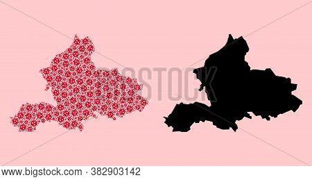 Vector Sars Virus Mosaic And Solid Map Of Gelderland Province. Map Of Gelderland Province Vector Mos