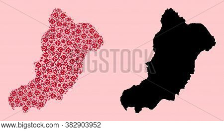 Vector Sars Virus Mosaic And Solid Map Of La Graciosa Island. Map Of La Graciosa Island Vector Mosai