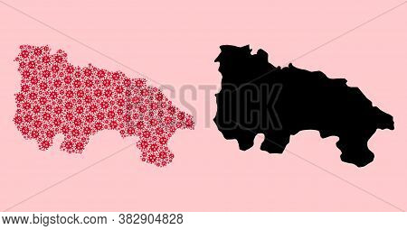 Vector Covid-2019 Virus Mosaic And Solid Map Of La Rioja Spanish Province. Map Of La Rioja Spanish P