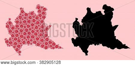 Vector Pandemic Virus Mosaic And Solid Map Of Lombardy Region. Map Of Lombardy Region Vector Mosaic