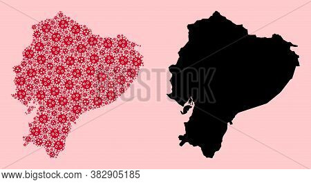 Vector Covid-2019 Virus Mosaic And Solid Map Of Ecuador. Map Of Ecuador Vector Mosaic For Clinic Cam