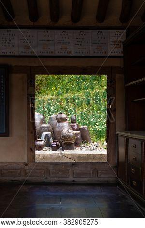 Seosan,south Korea-april 2020: Korean Traditional Kimchi Pots View From A Traditional House Window