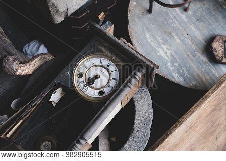 Seosan,south Korea-april 2020: Top View Of Korean Old Vintage Clock With Roman Numerals