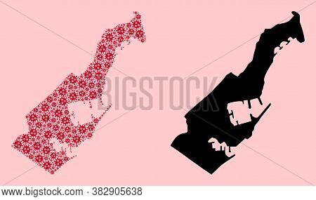 Vector Sars Virus Mosaic And Solid Map Of Monaco. Map Of Monaco Vector Mosaic For Lockdown Campaigns