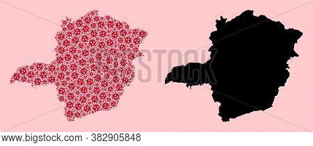 Vector Sars Virus Mosaic And Solid Map Of Minas Gerais State. Map Of Minas Gerais State Vector Mosai