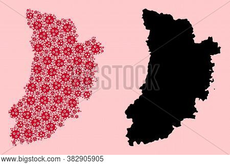 Vector Covid-2019 Virus Mosaic And Solid Map Of Lleida Province. Map Of Lleida Province Vector Mosai