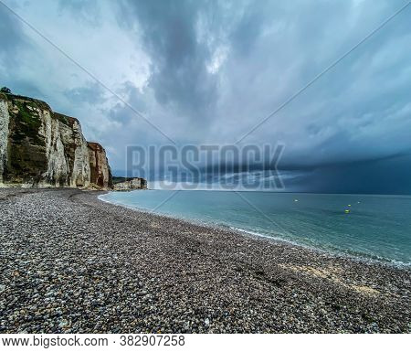 Peebles beach and limestone cliff at Veulettes-sur-Mer, Normandy, France