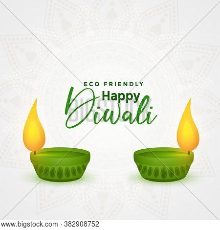 Happy Diwali Eco Friendly Festival Diya Concept Background