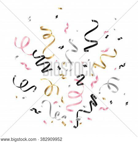 Colorful Serpentine And Confetti Isolated On White Background. Vector Illustration. Shiny Gold, Silv