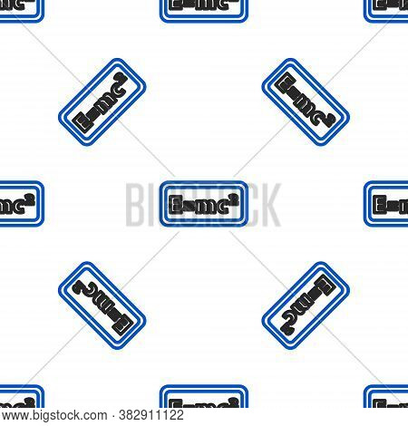 Line Math System Of Equation Solution Icon Isolated Seamless Pattern On White Background. E Equals M