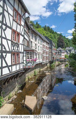 Idyllic Picturesque Village Of Monschau In Eifel,germany