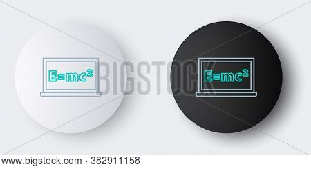 Line Math System Of Equation Solution On Chalkboard Icon Isolated On Grey Background. E Equals Mc Sq