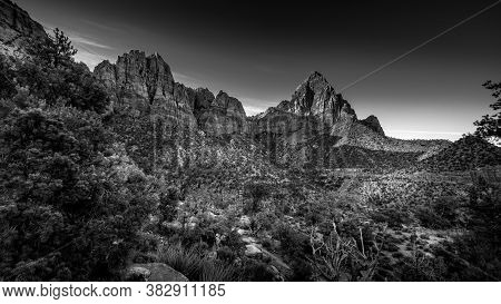 Lack And White Photo Of The Watchman Peak, Bridge Mountain And Sandstone Cliffs In Zion National Par