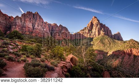 The End Destination In Sight On The Watchman Hiking Trail In Zion National Park In Utah, Usa During