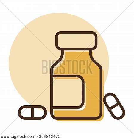 Medicine Bottle And Pills Vector Icon. Medicament. Medicine And Medical Support Sign. Graph Symbol F