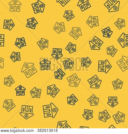 Blue Line Church Building Icon Isolated Seamless Pattern On Yellow Background. Christian Church. Rel