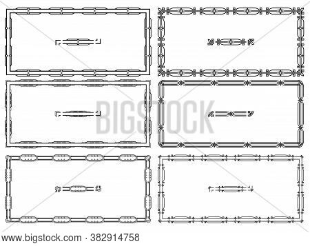 Geometric Horizontal Frames, Borders And Pattern Brushes With Corners Elements. Set Of Rectangular A