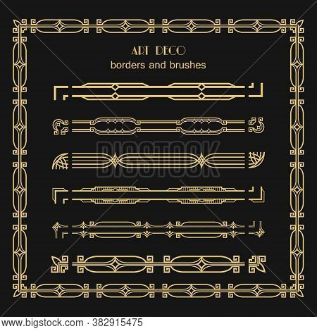 Set Of Art Deco Corner Elements Borders And Brushes. Frame Patterns And Ornaments. Creative Template